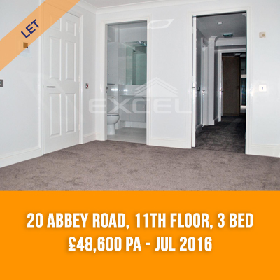 (6) 20 ABBEY ROAD, 11TH FLOOR, 3-BED £48,600 PA - JUL 16